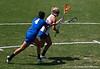 Florida sophomore midfielder Brittany Dashiell has to fight against tight Duke defense during the Gator's 9-13 loss against the No. 5 Seed Blue Devils in the NCAA Championship Quarterfinals on Saturday, May 21, 2011 at Donald R Dizney Lacrosse Stadium in Gainesville, Fla. / photo by Rob Foldy