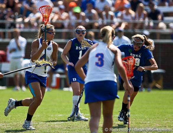 Florida sophomore Kitty Cullen prepares to fire a shot during the Gator's 9-13 loss against No. 5 Seed Duke in the NCAA Championship Quarterfinals on Saturday, May 21, 2011 at Donald R Dizney Lacrosse Stadium in Gainesville, Fla. / photo by Rob Foldy