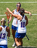 Florida sophomore Kitty Cullen and sophomore midfielder Colby Rhea  hug after a goal during the Gator's 9-13 loss against No. 5 Seed Duke in the NCAA Championship Quarterfinals on Saturday, May 21, 2011 at Donald R Dizney Lacrosse Stadium in Gainesville, Fla. / photo by Rob Foldy