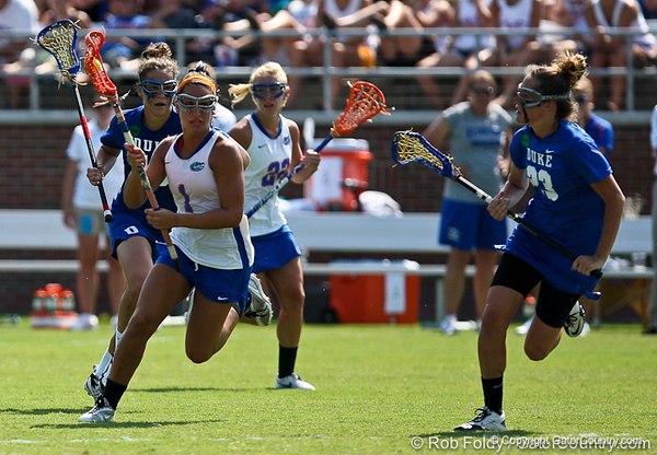 Florida sophomore midfielder Janine Hillier runs with the ball during the Gator's 9-13 loss against No. 5 Seed Duke in the NCAA Championship Quarterfinals on Saturday, May 21, 2011 at Donald R Dizney Lacrosse Stadium in Gainesville, Fla. / photo by Rob Foldy