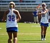 Florida sophomore midfielder Brittany Dashiell passes the ball to junior attacker Caroline Cochran during the Gator's 9-13 loss against No. 5 Seed Duke in the NCAA Championship Quarterfinals on Saturday, May 21, 2011 at Donald R Dizney Lacrosse Stadium in Gainesville, Fla. / photo by Rob Foldy