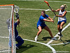 Florida sophomore attacker Ashley Bruns's shot gets blocked by the Blue Devils goalkeeper during the Gator's 9-13 loss against No. 5 Seed Duke in the NCAA Championship Quarterfinals on Saturday, May 21, 2011 at Donald R Dizney Lacrosse Stadium in Gainesville, Fla. / photo by Rob Foldy