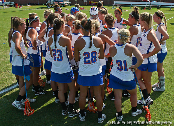 The Florida team huddles after the Gator's 9-13 loss against No. 5 Seed Duke in the NCAA Championship Quarterfinals on Saturday, May 21, 2011 at Donald R Dizney Lacrosse Stadium in Gainesville, Fla. / photo by Rob Foldy
