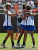 Florida players hug after a goal during the Gator's 9-13 loss against No. 5 Seed Duke in the NCAA Championship Quarterfinals on Saturday, May 21, 2011 at Donald R Dizney Lacrosse Stadium in Gainesville, Fla. / photo by Rob Foldy