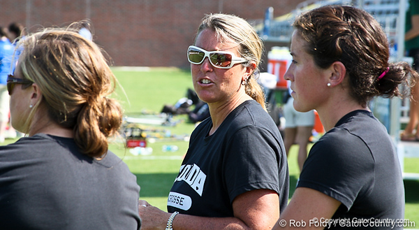 Florida head coach Amanda O'Leary talks with her staff after the Gator's 9-13 loss against No. 5 Seed Duke in the NCAA Championship Quarterfinals on Saturday, May 21, 2011 at Donald R Dizney Lacrosse Stadium in Gainesville, Fla. / photo by Rob Foldy