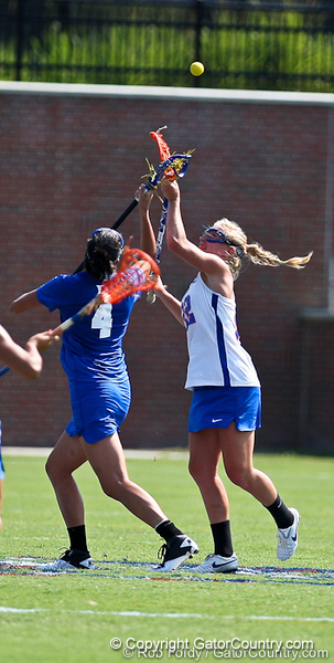 Florida sophomore midfielder Brittany Dashiell fights for draw control during the Gator's 9-13 loss against No. 5 Seed Duke in the NCAA Championship Quarterfinals on Saturday, May 21, 2011 at Donald R Dizney Lacrosse Stadium in Gainesville, Fla. / photo by Rob Foldy