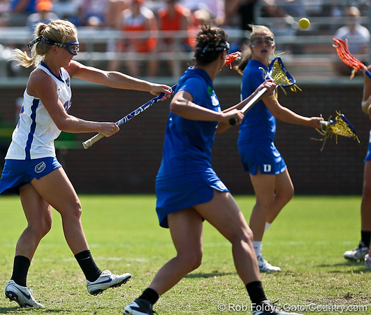 Florida sophomore midfielder Brittany Dashiell fires a shot during the Gator's 9-13 loss against No. 5 Seed Duke in the NCAA Championship Quarterfinals on Saturday, May 21, 2011 at Donald R Dizney Lacrosse Stadium in Gainesville, Fla. / photo by Rob Foldy
