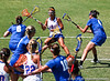 Florida sophomore midfielder Janine Hillier battles against an onslaught of Duke defenders during the Gator's 9-13 loss against No. 5 Seed Blue Devils in the NCAA Championship Quarterfinals on Saturday, May 21, 2011 at Donald R Dizney Lacrosse Stadium in Gainesville, Fla. / photo by Rob Foldy