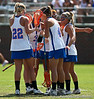 Florida players huddle scoring a goal during the Gator's 9-13 loss against No. 5 Seed Duke in the NCAA Championship Quarterfinals on Saturday, May 21, 2011 at Donald R Dizney Lacrosse Stadium in Gainesville, Fla. / photo by Rob Foldy