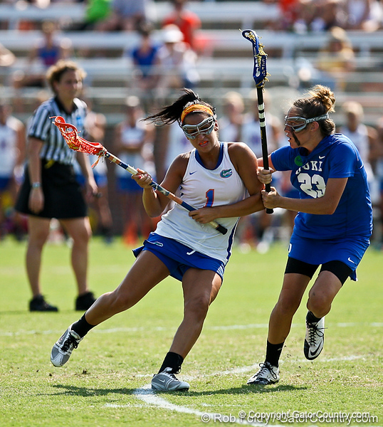 Florida sophomore midfielder Janine Hillier drives the ball towards the goal during the Gator's 9-13 loss against No. 5 Seed Duke in the NCAA Championship Quarterfinals on Saturday, May 21, 2011 at Donald R Dizney Lacrosse Stadium in Gainesville, Fla. / photo by Rob Foldy