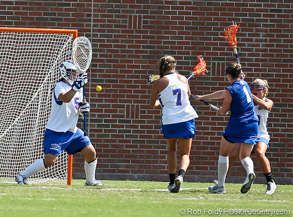 Florida sophomore goalkeeper Mikey Meagher watches a shot during the Gator's 9-13 loss against No. 5 Seed Duke in the NCAA Championship Quarterfinals on Saturday, May 21, 2011 at Donald R Dizney Lacrosse Stadium in Gainesville, Fla. / photo by Rob Foldy