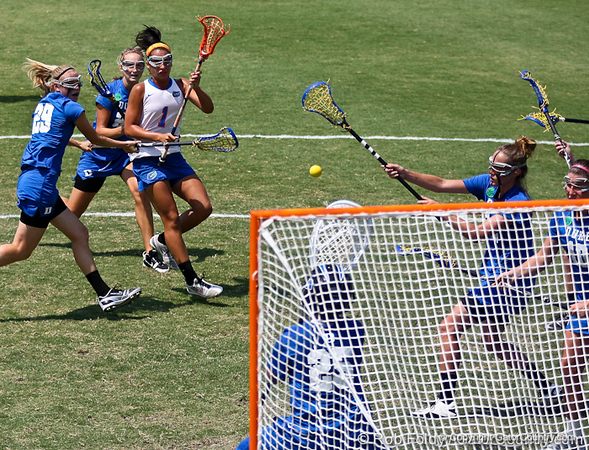 Florida sophomore midfielder Janine Hillier fires a shot during the Gator's 9-13 loss against No. 5 Seed Duke in the NCAA Championship Quarterfinals on Saturday, May 21, 2011 at Donald R Dizney Lacrosse Stadium in Gainesville, Fla. / photo by Rob Foldy