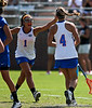 Florida sophomore midfielder Janine Hillier prepares to embrace fellow sophomore Kitty Cullen after a goal during the Gator's 9-13 loss against No. 5 Seed Duke in the NCAA Championship Quarterfinals on Saturday, May 21, 2011 at Donald R Dizney Lacrosse Stadium in Gainesville, Fla. / photo by Rob Foldy