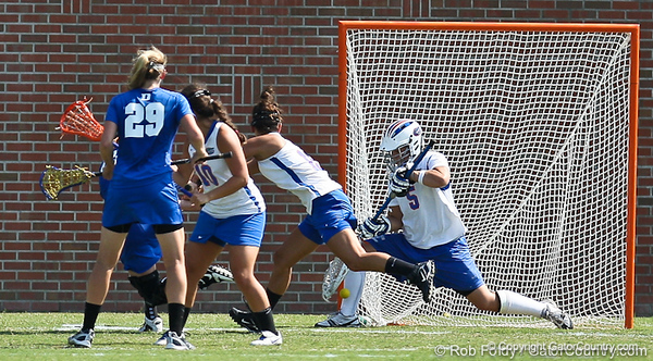 Florida sophomore goalkeeper Mikey Meagher comes up with a huge save during the Gator's 9-13 loss against No. 5 Seed Duke in the NCAA Championship Quarterfinals on Saturday, May 21, 2011 at Donald R Dizney Lacrosse Stadium in Gainesville, Fla. / photo by Rob Foldy