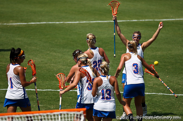 Florida players celebrate after a goal during the Gator's 9-13 loss against No. 5 Seed Duke in the NCAA Championship Quarterfinals on Saturday, May 21, 2011 at Donald R Dizney Lacrosse Stadium in Gainesville, Fla. / photo by Rob Foldy