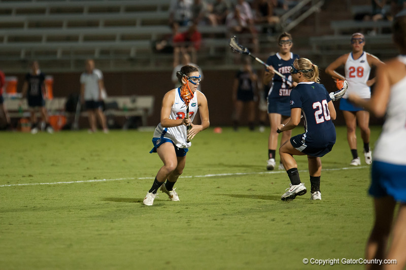 Florida freshman Sally Jentis   on the attack during the Gators' 29-0 win against the Fresno State Bulldogs on Wednesday, March 28, 2012 at the Donald R. Dizney Stadium in Gainesville, Fla. / Gator Country photo by Saj Guevara