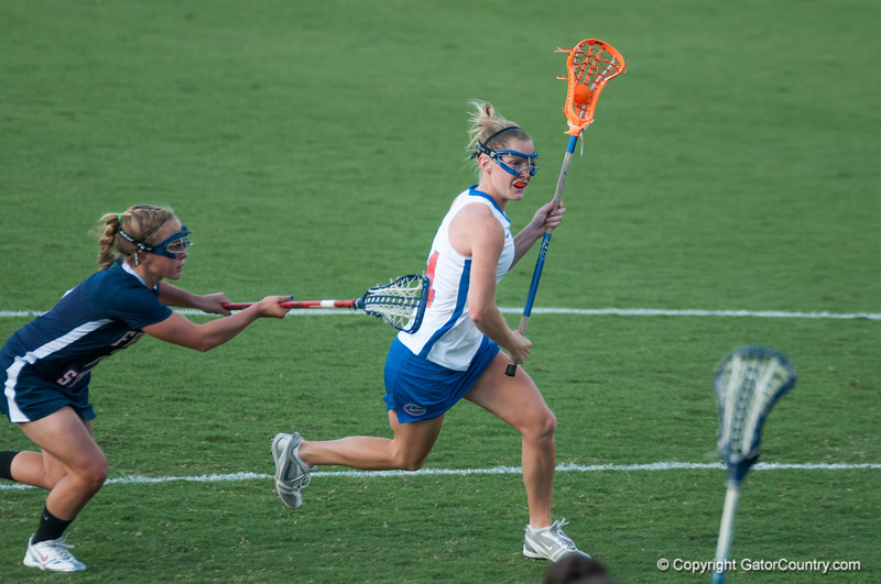 Florida freshman Nora Barry on the attack  during the Gators' 29-0 win against the Fresno State Bulldogs on Wednesday, March 28, 2012 at the Donald R. Dizney Stadium in Gainesville, Fla. / Gator Country photo by Saj Guevara