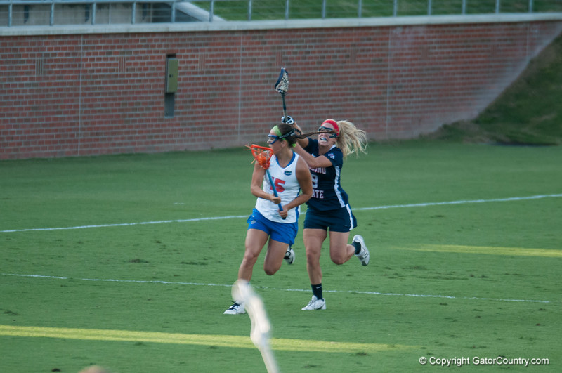 Florida junior Sam Farrell on the attack during the Gators' 29-0 win against the Fresno State Bulldogs on Wednesday, March 28, 2012 at the Donald R. Dizney Stadium in Gainesville, Fla. / Gator Country photo by Saj Guevara