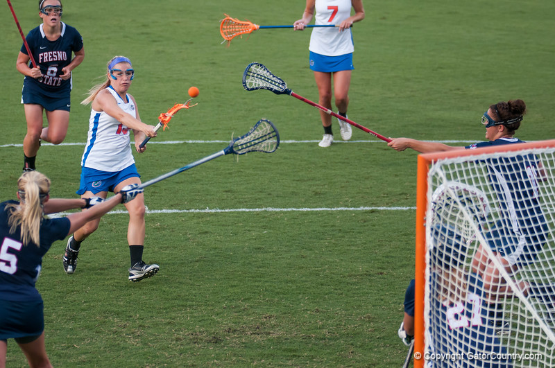 Florida junior Ashley Bruns  scores 1 of 3 goals during the Gators' 29-0 win against the Fresno State Bulldogs on Wednesday, March 28, 2012 at the Donald R. Dizney Stadium in Gainesville, Fla. / Gator Country photo by Saj Guevara