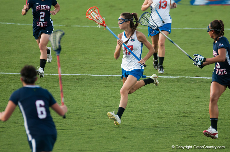 Florida junior Haydon Judge on the attack during the Gators' 29-0 win against the Fresno State Bulldogs on Wednesday, March 28, 2012 at the Donald R. Dizney Stadium in Gainesville, Fla. / Gator Country photo by Saj Guevara