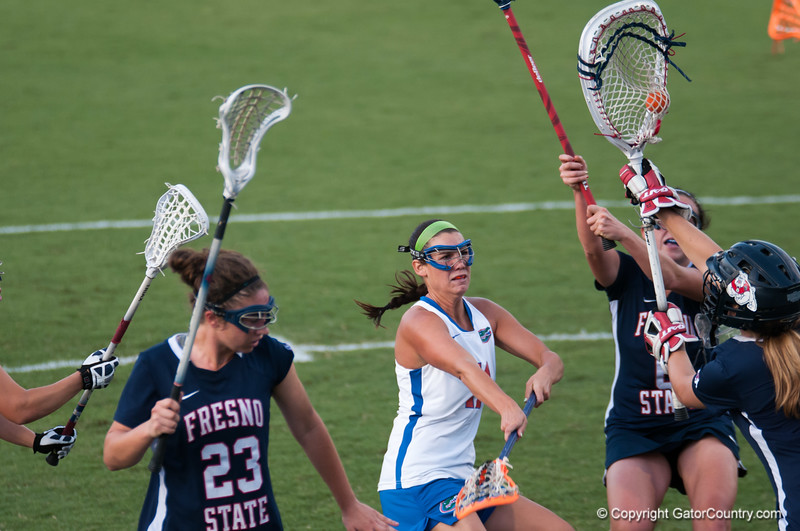 Florida red shirt sophomore Erin Graziano attampt at goal is blocked during the Gators' 29-0 win against the Fresno State Bulldogs on Wednesday, March 28, 2012 at the Donald R. Dizney Stadium in Gainesville, Fla. / Gator Country photo by Saj Guevara