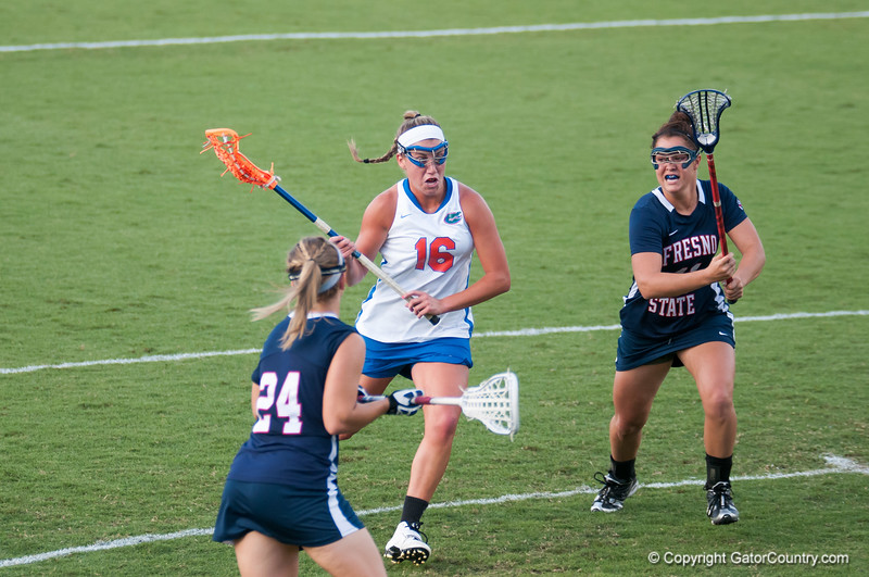 Florida freshman Nicole Graziano charges in during the Gators' 29-0 win against the Fresno State Bulldogs on Wednesday, March 28, 2012 at the Donald R. Dizney Stadium in Gainesville, Fla. / Gator Country photo by Saj Guevara