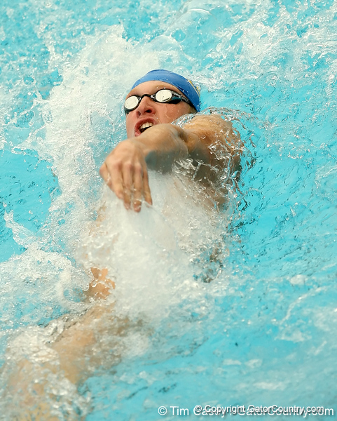 photo by Tim Casey<br /> <br />  competes in the 200 yard backstroke during the Gators' final home swimming and diving meet of the season on Saturday, January 31, 2009 at the Stephen C. O'Connell Center in Gainesville, Fla.