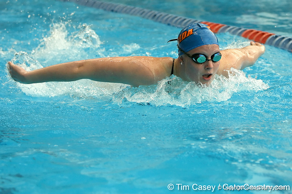 photo by Tim Casey<br /> <br /> Florida's Angelina Ballatore competes in the 400 yard IM during the Gators' final home swimming and diving meet of the season on Saturday, January 31, 2009 at the Stephen C. O'Connell Center in Gainesville, Fla.