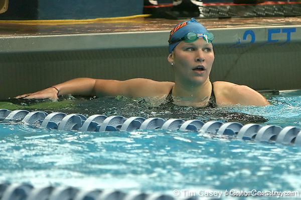 photo by Tim Casey<br /> <br /> Florida's Stephanie Napier competes in the 200 yard freestyle during the Gators' final home swimming and diving meet of the season on Saturday, January 31, 2009 at the Stephen C. O'Connell Center in Gainesville, Fla.