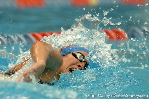 photo by Tim Casey<br /> <br /> competes in the 400 yard freestyle relay during the Gators' final home swimming and diving meet of the season on Saturday, January 31, 2009 at the Stephen C. O'Connell Center in Gainesville, Fla.
