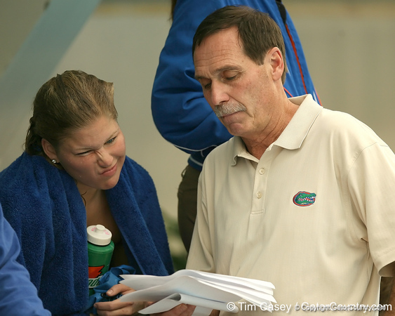 photo by Tim Casey<br /> <br /> Florida head coach Gregg Troy looks over a results sheet during the Gators' final home swimming and diving meet of the season on Saturday, January 31, 2009 at the Stephen C. O'Connell Center in Gainesville, Fla.