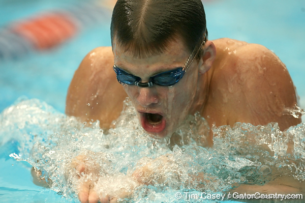 photo by Tim Casey<br /> <br /> Florida's Christopher Crete competes in the 200 yard breaststroke during the Gators' final home swimming and diving meet of the season on Saturday, January 31, 2009 at the Stephen C. O'Connell Center in Gainesville, Fla.