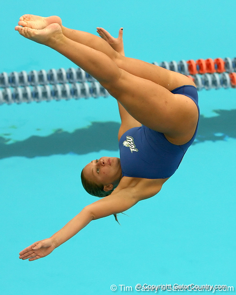 photo by Tim Casey<br /> <br /> FGCU's Gabby Shaw competes in the 3 meter diving competition during the Gators' final home swimming and diving meet of the season on Saturday, January 31, 2009 at the Stephen C. O'Connell Center in Gainesville, Fla.