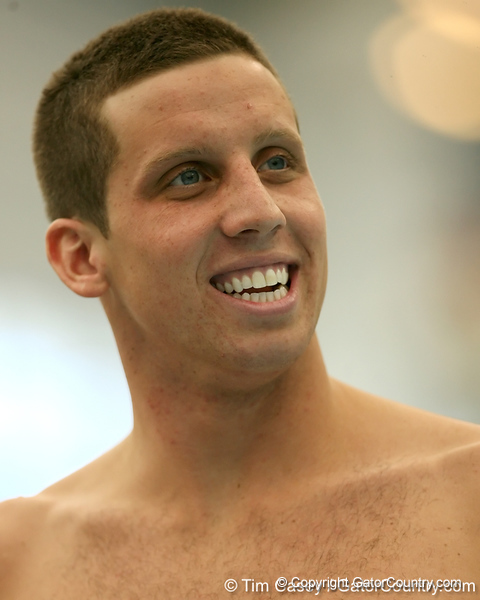 photo by Tim Casey<br /> <br /> Florida's Clark Burckle smiles during the Gators' final home swimming and diving meet of the season on Saturday, January 31, 2009 at the Stephen C. O'Connell Center in Gainesville, Fla.