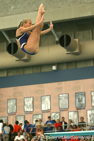 photo by Tim Casey<br /> <br /> Indian River State College's Jana Mazur competes in the 3 meter diving competition during the Gators' final home swimming and diving meet of the season on Saturday, January 31, 2009 at the Stephen C. O'Connell Center in Gainesville, Fla.
