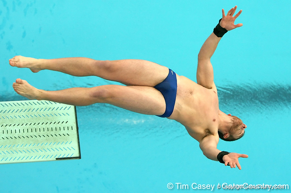 photo by Tim Casey<br /> <br /> Florida's Aaron Leech competes in the 3 meter diving competition during the Gators' final home swimming and diving meet of the season on Saturday, January 31, 2009 at the Stephen C. O'Connell Center in Gainesville, Fla.