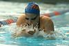 photo by Tim Casey<br /> <br /> Florida's Angelina Ballatore competes in the 200 yard breaststroke during the Gators' final home swimming and diving meet of the season on Saturday, January 31, 2009 at the Stephen C. O'Connell Center in Gainesville, Fla.