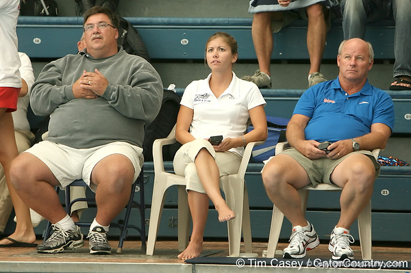 photo by Tim Casey<br /> <br /> Diving judges watch during the Gators' final home swimming and diving meet of the season on Saturday, January 31, 2009 at the Stephen C. O'Connell Center in Gainesville, Fla.