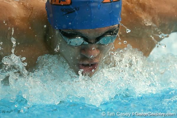 photo by Tim Casey<br /> <br /> Florida's Robert Walsh competes in the 200 yard butterfly during the Gators' final home swimming and diving meet of the season on Saturday, January 31, 2009 at the Stephen C. O'Connell Center in Gainesville, Fla.