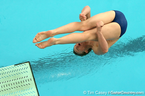photo by Tim Casey<br /> <br /> Florida's Anthony Lewark competes in the 3 meter diving competition during the Gators' final home swimming and diving meet of the season on Saturday, January 31, 2009 at the Stephen C. O'Connell Center in Gainesville, Fla.