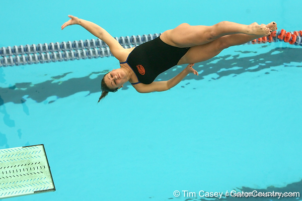 photo by Tim Casey<br /> <br /> Florida's Kara Salamone competes in the 3 meter diving competition during the Gators' final home swimming and diving meet of the season on Saturday, January 31, 2009 at the Stephen C. O'Connell Center in Gainesville, Fla.