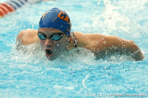 photo by Tim Casey<br /> <br /> Florida's Lindsay Woodward competes in the 200 yard butterfly during the Gators' final home swimming and diving meet of the season on Saturday, January 31, 2009 at the Stephen C. O'Connell Center in Gainesville, Fla.