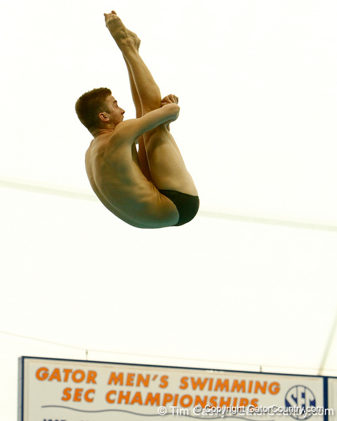 Florida redshirt sophomore Chris Jones competes in 3-meter diving during the Gators' meet against the Florida Atlantic Owls on Saturday, January 14, 2012 at the Stephen C. O'Connell Center Natatorium in Gainesville, Fla. / Gator Country photo by Tim Casey