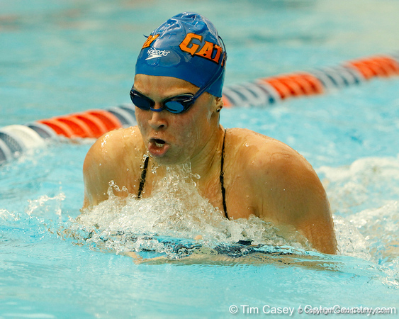 Florida sophomore Elizabeth Beisel competes in the women's 200-yard breaststroke during the Gators' meet against the Florida Atlantic Owls on Saturday, January 14, 2012 at the Stephen C. O'Connell Center Natatorium in Gainesville, Fla. / Gator Country photo by Tim Casey