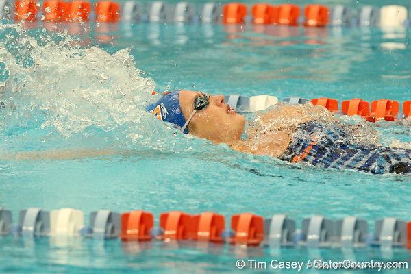 Florida sophomore Ellese Zalewski competes in the women's 100-yard backstroke during the Gators' meet against the Florida Atlantic Owls on Saturday, January 14, 2012 at the Stephen C. O'Connell Center Natatorium in Gainesville, Fla. / Gator Country photo by Tim Casey