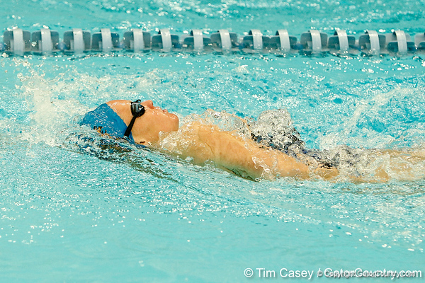 Florida freshman Jordan Smith competes in the women's 200-yard backstroke during the Gators' meet against the Florida Atlantic Owls on Saturday, January 14, 2012 at the Stephen C. O'Connell Center Natatorium in Gainesville, Fla. / Gator Country photo by Tim Casey