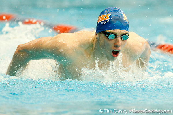 Florida freshman Dan Wallace competes in the men's 200-yard butterfly during the Gators' meet against the Florida Atlantic Owls on Saturday, January 14, 2012 at the Stephen C. O'Connell Center Natatorium in Gainesville, Fla. / Gator Country photo by Tim Casey