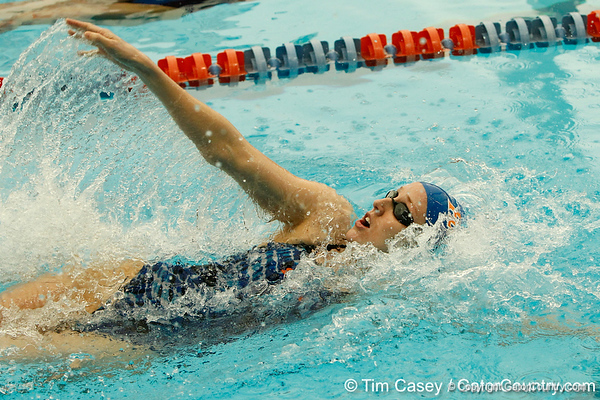 Florida sophomore Hilda Luthersdottir competes in the women's 100-yard backstroke during the Gators' meet against the Florida Atlantic Owls on Saturday, January 14, 2012 at the Stephen C. O'Connell Center Natatorium in Gainesville, Fla. / Gator Country photo by Tim Casey