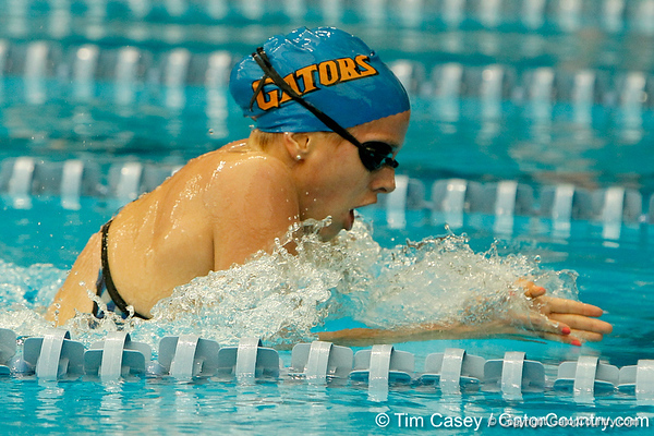 Florida sophomore Julia Treible competes in the women's 200-yard breaststroke during the Gators' meet against the Florida Atlantic Owls on Saturday, January 14, 2012 at the Stephen C. O'Connell Center Natatorium in Gainesville, Fla. / Gator Country photo by Tim Casey