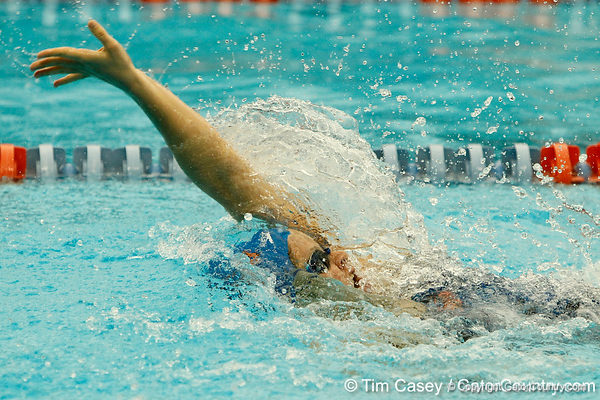 Florida sophomore Elizabeth Beisel competes in the women's 100-yard backstroke during the Gators' meet against the Florida Atlantic Owls on Saturday, January 14, 2012 at the Stephen C. O'Connell Center Natatorium in Gainesville, Fla. / Gator Country photo by Tim Casey